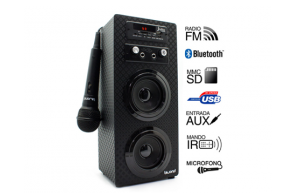 Joybox Karaoke con Bluetooth, Lector SD y USB, Radio y Micrófono Biwond